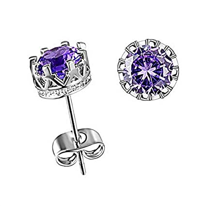 b2115cca0 Image Unavailable. Image not available for. Color: Florance jones 925 Silver  Fashion Surgical Zircon Crown Stud Earrings ...