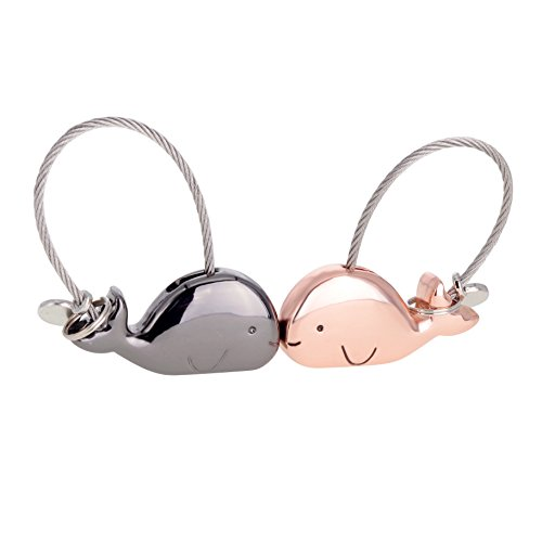 ASHMITA Cute Kiss Whale Couple Keychain for Women Charm Romantic Valentine Gift