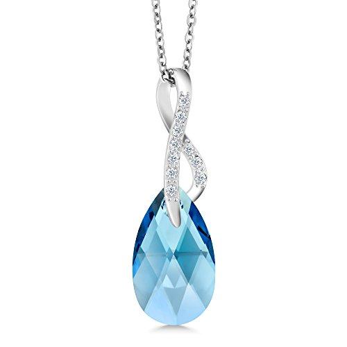 - Gem Stone King Aqua Blue Ribbon Tear Drop Pendant Made with Swarovski Crystals