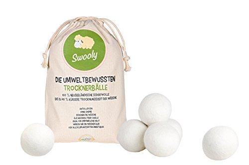 6 Trocknerbälle von Swooly   Wäschetrockner Bälle aus 100 % neuseeländischer Schafwolle   Antiallergene, Umweltbewusste Trocknerbälle aus Wolle   Über 1.500 Trocknungszyklen verwendbar   Clever Zeit und Geld sparen mit den Swooly Wäschetrocknerbällen!