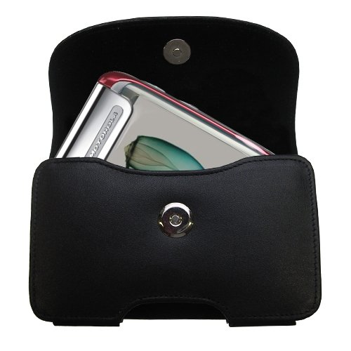 Gomadic Brand Horizontal Black Leather Carrying Case for the Motorola Ming with Integrated Belt Loop and Optional Belt Clip