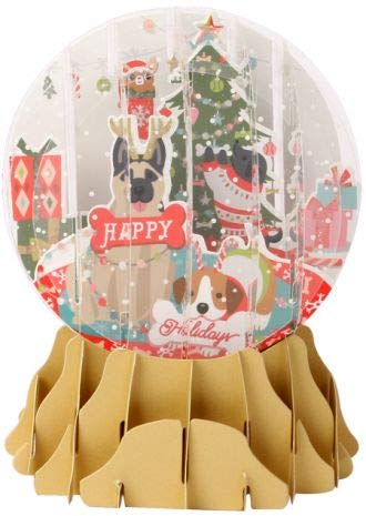 Dog Christmas Cards Pop Up Cards Funny Christmas Cards Dogs in Paper Snow Globe Box 8, 3.5x4.75