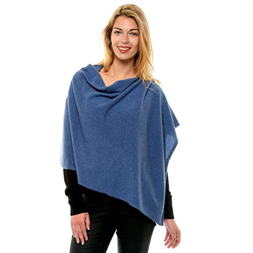 Womens 100% Cashmere Poncho 2 Plys Colors - Blue Navy ()