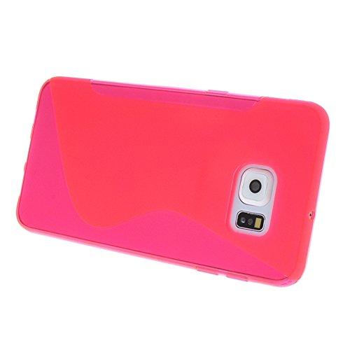 MEIRISHUN Caja del Teléfono Celular Caso Funda, Soft TPU Protector Case,Anti-scratch Silicone Back Cover Contraportadapara Samsung Galaxy S6 edge+ [Gris] Magenta