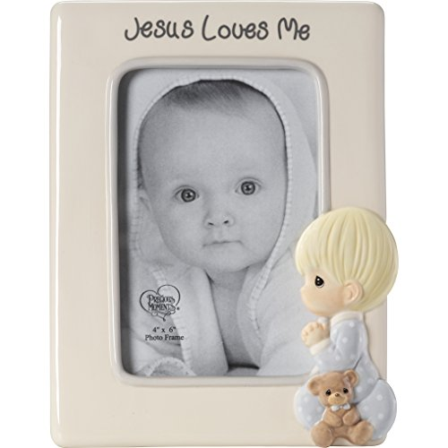 - Precious Moments Praying Boy Jesus Loves Me Ceramic Photo Frame, One Size, Multi