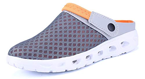 - Yooeen Mens Womens Mesh Sandals Garden Clog Shoes Breathable Summer Indoor Outdoor Slippers Lightweight Walking Beach Sports Sandals, Grey+orange, 14 M US Big Kid / 12 M US Men