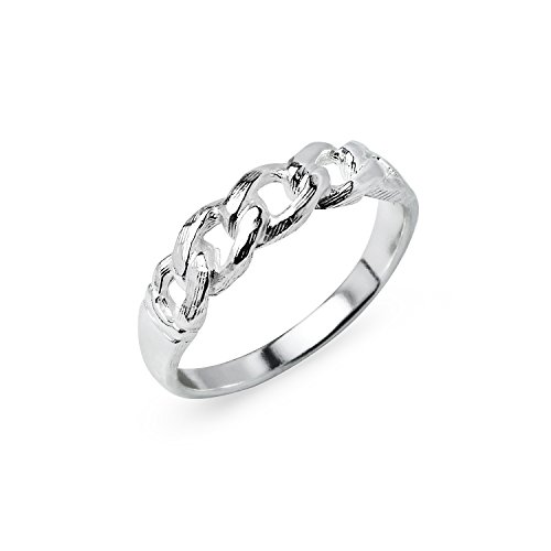 Heart Link Ring (Chain Interlocking Link Sterling Silver Round Cut Band Ring, Friendship Promise Ring Size 9)