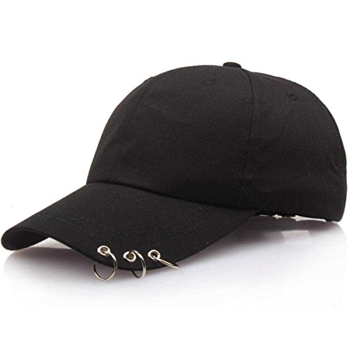 Unisex Mesh Plain Metallic Ring Bill Adjustable Baseball Cap Hip-Hop Hat (Black)