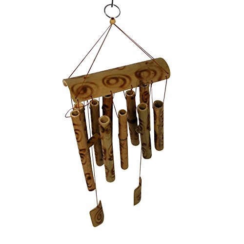 Royal Brands Bamboo Wind Chimes – Wood Wind Chime – Large Brown Indoor Outdoor Wooden Melody – 20″