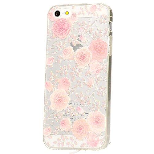 delightable24 Ultra Dünne Schutzhülle Hülle Leichtes Design Cover Case TPU Silikon APPLE IPHONE SE / 5 / 5S Smartphone - Roses