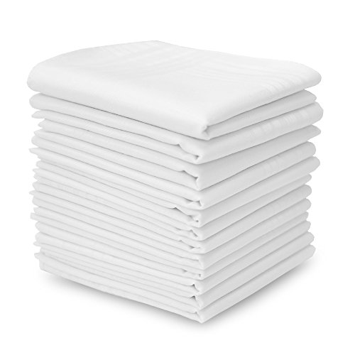 - EcoHanky 100% Cotton Men's Handkerchiefs with Hem White 12 Pieces