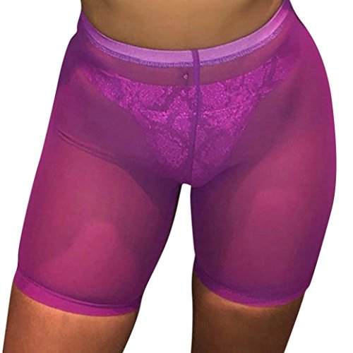 Fiaya Women's Sexy Solid Pants Elastic Waistband Mesh See Through Short Hot Pants Cover up (Purple, S)
