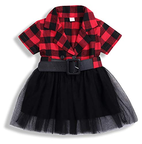 Little Kids Baby Girl Dresses White and Black Plaid Tutu Skirt Party Princess Formal Outfit Clothes (Red Short, 5-6 - Tutu Collar