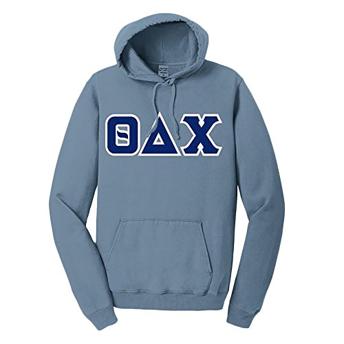 - Theta Delta Chi Pigment-Dyed Lettered Hooded Sweatshirt Large Mist