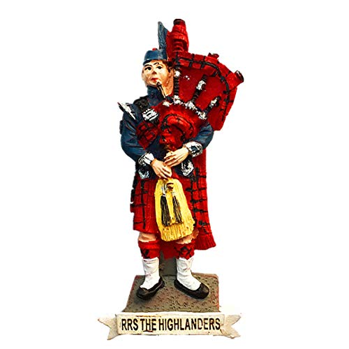 Highlanders Bagpipe Plaid Skirt Scotland Uk United Kingdom 3D Refrigerator Fridge Magnet Travel Souvenir Collection Decoration White Board Sticker