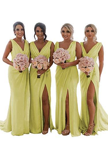YageDress Women's V-Neck Bridesmaid Dress Long with Slit Chiffon Maxi Beach Wedding Party Guest Dress Light Yellow