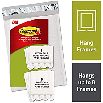 Command Medium & Large Picture Hanging Strips, White, 8 medium, 8 large pairs, Decorate Damage-Free (PH209-16NA)