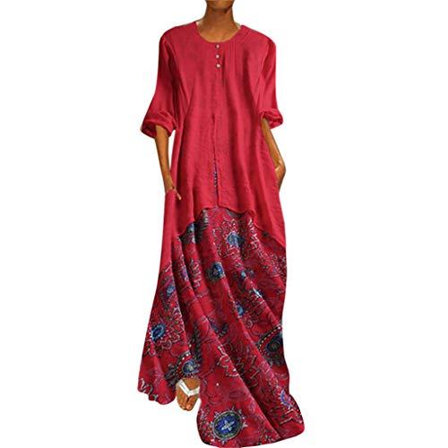 Dressin Women's Plus Size Vintage V Neck Split Bohe Floral Printed Sleeveless Long Dresses Maxi Dress Red
