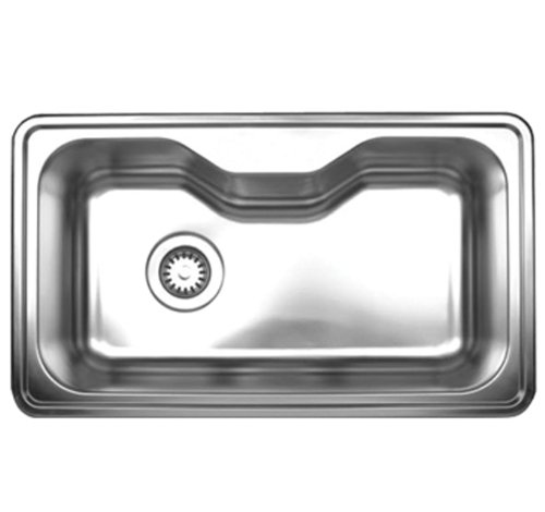 Whitehaus WHNDA3016-BSS Noah'S Collection 33 1/2-Inch Single Bowl Drop-In Sink, Brushed Stainless ()