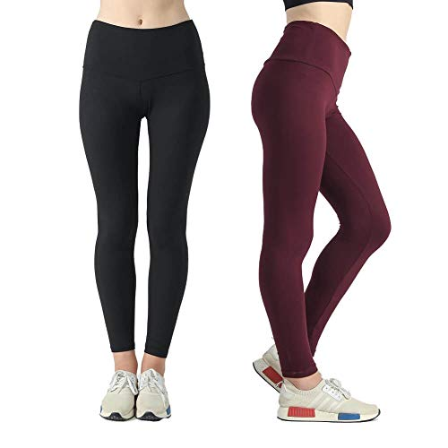 Sweetaluna High Waist Yoga Pants Stretch Workout Leggings for Women Tummy Control Ultra Soft with 2-Pack