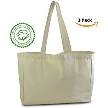 Amazon.com: Natural Cotton Canvas Tote Bag (3 Pack) perfect for ...