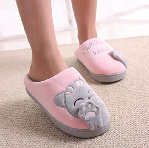 Scarpe Calda Home Camera Pantofole Antisdrucciolevole Coppia Cat Loves Floor Coperta Donne Chiaro Rosa Winter Molle Cartoon Sandali wS4fUnqE