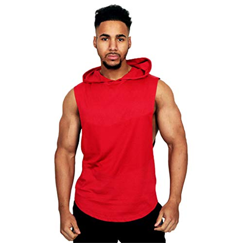 Men's Dry Fit Y-Back Muscle Tank Top Workout Athletic Muscle Tank with Hoods Sports Top Blouse Casual Shirts Red