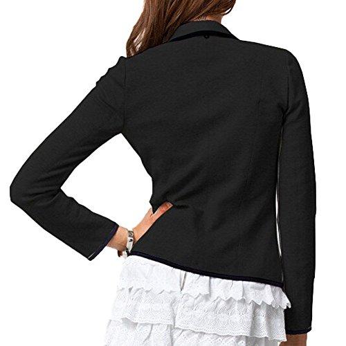 Camicetta Tuta Fit Autunno Deley Ufficio Nero Slim Top Blazer Business Maglietta Giacca Donne Outwear Elegante 8twqP