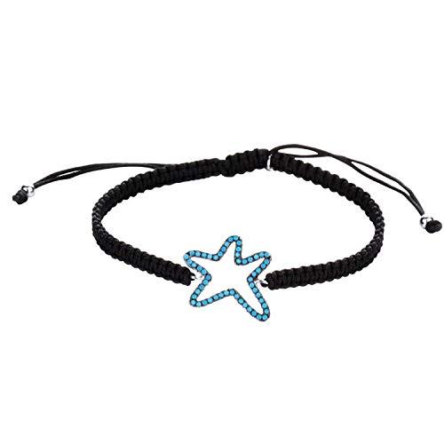 DVANIS 925 Sterling Silver Starfish Turquoise Beads Black Rope Beads Bracelet by DVANIS