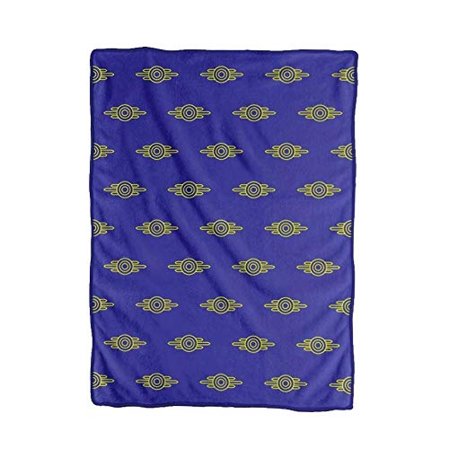 JUST FUNKY Official Fallout Vault-Tec Logo Pattern Plush Soft Fleece Travel/Camping/Cozy, Blanket/Throw Compact Sized 45 x 60 inches
