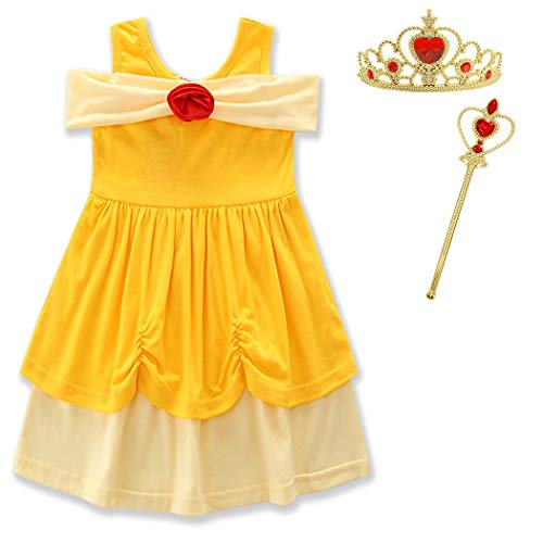 Flower Child Halloween Costumes (HenzWorld Little Girls Princess Belle Costumes Dress up Halloween Cosplay Birthday Party Outfit with Accessories Yellow Flower 1-2)