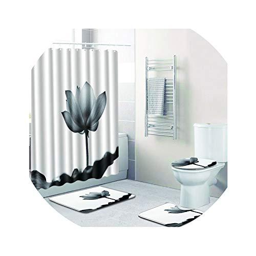 - Flower Christmas Bathroom Shower Curtain Anti Slip Rug Sets Flannel Blanket White Carpet Toilet Mat Accessories In Bath Mat Rug,D017,45X75 45X 37.5 35X45
