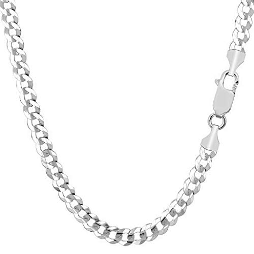 14K Gold 5MM Cuban/Curb Link Chain Necklace- Made in Italy- Multiple Lengths & Colors available (White, 26) (White Necklace Engagement)