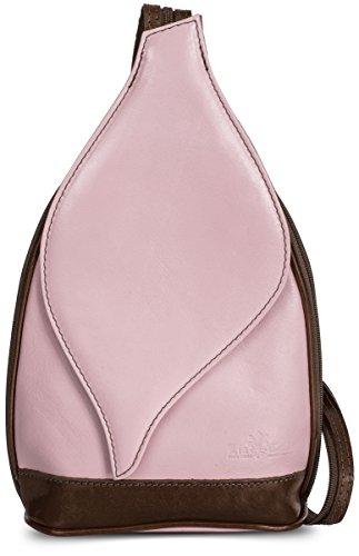 LIATALIA Pink Rucksack Real KIM Leather Bag Duffle Small Brown Italian Baby Womens Backpack Shoulder rqHn0r7BEx