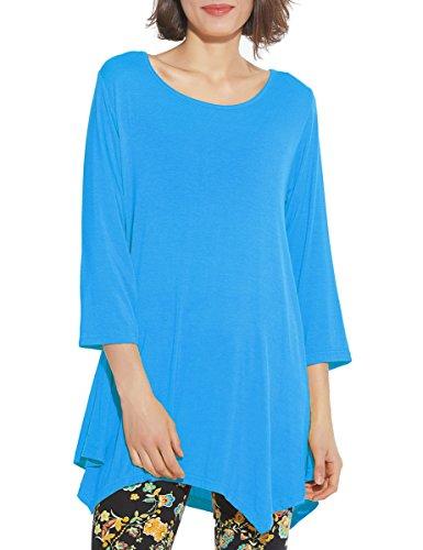 (BELAROI Women 3/4 Sleeve Swing Tunic Tops Plus Size T Shirt (2X, Deepskyblue))