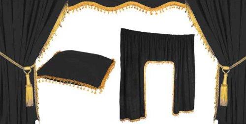 Warenhandel König - Juego de cortinas para camión, 5 unidades, color negro y dorado