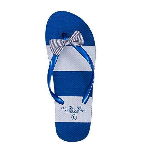 Estate Airee Piscina A Signore Spiaggia Donna Arco Con Fairee Strisce Blu Motivo Carino Sandali Delle Infradito TwYHq4T