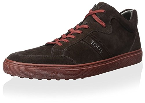 tods-mens-suede-sneaker-black-red-42-m-eu-10-m-us