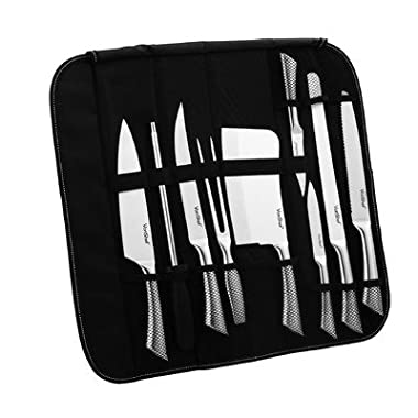 VonShef 9 Piece Assorted Kitchen Knife Carry Wrap Set With Zip Up Carry Case - Stainless Steel