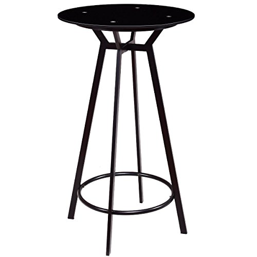 Amazon.com: RX-789 Round Bar Table Modern Glass Top Metal
