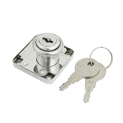 eDealMax plata barrio tono Girar cajón con llave cilindro de la cerradura w Teclas