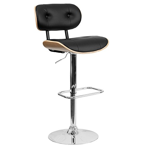 Flash Furniture Beech Bentwood Adjustable Height Barstool with Button Tufted Black Vinyl Seat ()