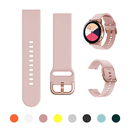 Minggo Band Compatible with Samsung Galaxy Watch Active/Active2 40mm/44mm,Silicone Sports Wristband Replacement Compatible for Galaxy Watch 42mm/Gear S2 Classic/Gear Sport Smart Watch (Pink)