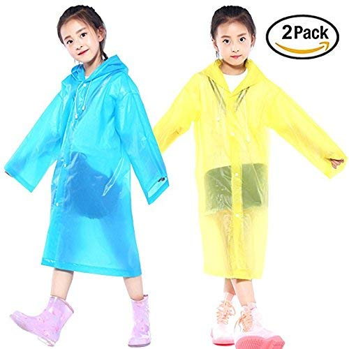 AzBoys Children Rain Ponchos 2Pack,Blue & Yellow,Waterproof Rain Poncho for Kids,Portable Reusable Raincoat for Boys and Girls Ages 6-12,for - Poncho Kid Girls