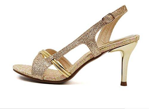 YCMDM donne Sandali Open Toe oro scarpe col tacco alto 39 36 35 38 34 37 , gold , 38