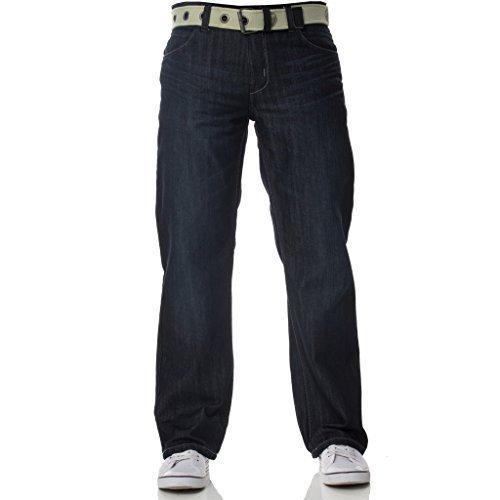 Uomo Etichetta Scuri Enzo Vestibilità Capi Lavaggio Jeans Da Regular Larga Gratis Firmati Denim Con Cintura Nuovo Blu HBwq11