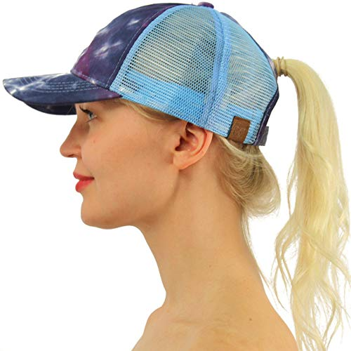 Adjustable Performance Visor - C.C Ponytail Messy Buns Trucker Ponycaps Plain Baseball Visor Cap Dad Hat Tie Dye Navy