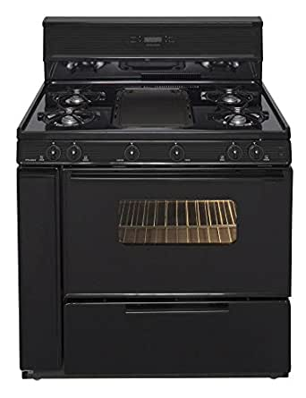Premier SLK849BP Gas Range with 10 Inch Tempered Glass Backguard with Electronic Clock/Timer Electronic Ignition and Tempered Black Glass Windowed Oven Door with Interior Oven Light in