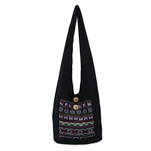 NOVICA Black and Red Geometric Cotton Cross Body Shoulder Bag, Tribal ()