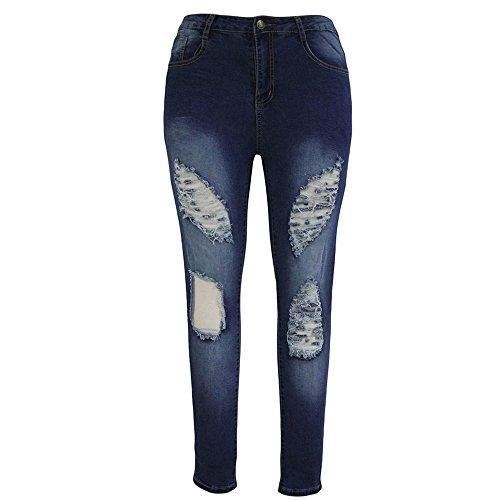 vita denim lunghi Blu Strappati Mid moda jeans pantaloni LQQSTORE Donne pantaloni donna asimmetria Casuale Jeans skinny strappato qWYzwA